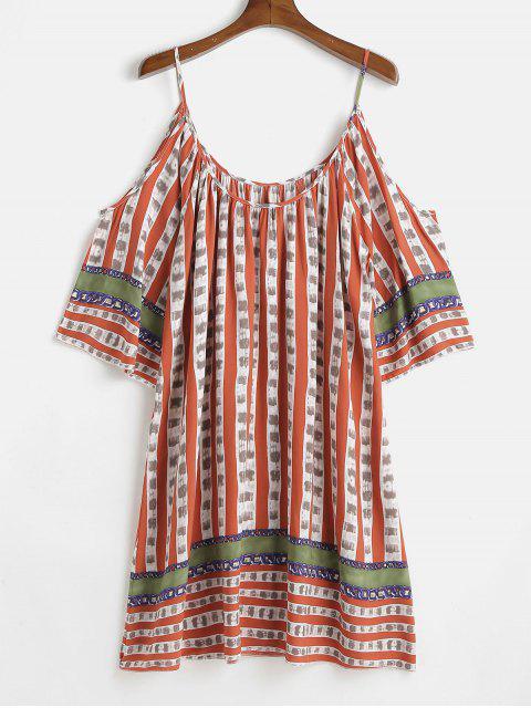 affordable Plus Size Cold Shoulder Print Shift Dress - MULTI 2X Mobile