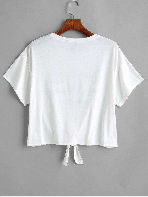unique Letter Print Knot Plus Size Tee - WHITE 1X Mobile