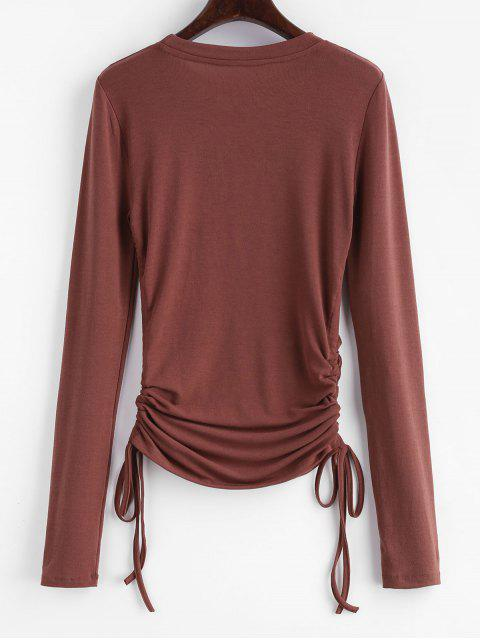 outfits Slim Drawstring Side Long Sleeve Tee - CHESTNUT S Mobile