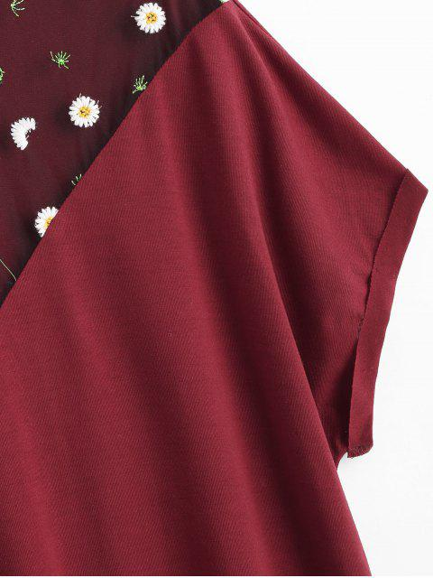online Floral Embroidered Plus Size Tee - RED WINE 1X Mobile
