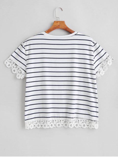 new Striped Plus Size Crochet Trim Tee - WHITE 1X Mobile