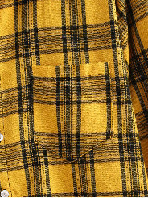 fashion Patch Design Check Long Sleeves Shirt - YELLOW 2XL Mobile
