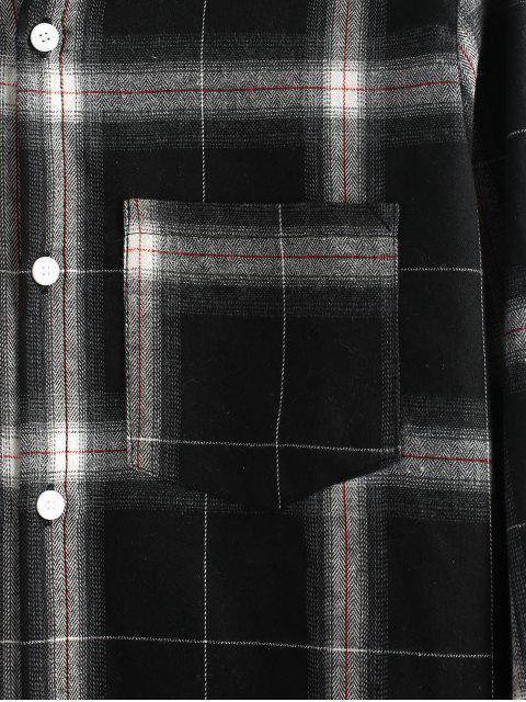 latest Plaid Raw Hem Long Sleeves Shirt - BLACK 2XL Mobile