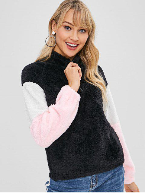 fashion Color Block Half Zip Fluffy Sweatshirt - BLACK XL Mobile