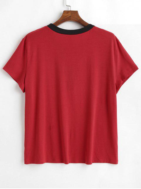 T-shirt Ourlet Contrasté à Lacets de Grande Taille - Rouge 1X Mobile
