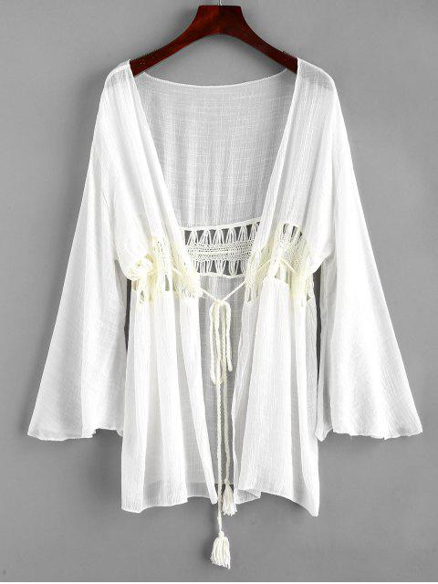 shops Tie Tassels Crochet Panel Cover-up - WHITE ONE SIZE Mobile