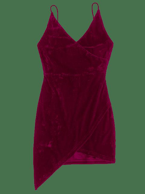 womens Strappy Open Back Velvet Mini Party Dress - FIREBRICK L Mobile