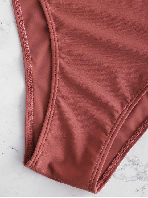 latest High Cut Plunge Neck Swimsuit - CHESTNUT XL Mobile