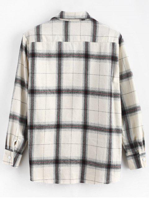 women Plaid Raw Hem Long Sleeves Shirt - WHITE 2XL Mobile