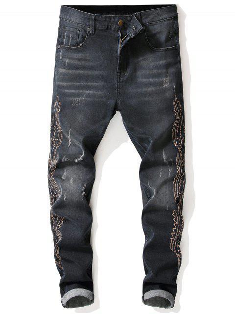 best Side Vintage Patten Seam Faded Jeans - DENIM DARK BLUE 32 Mobile