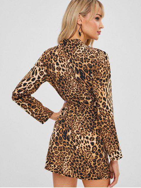 outfit Belted Leopard Print Mini Wrap Dress - LEOPARD L Mobile