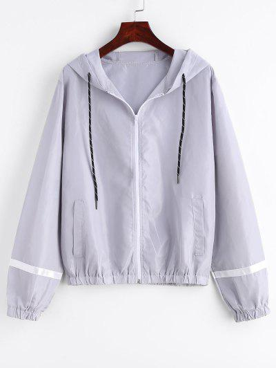 7661bd75006 Stripe Panel Windbreaker Jacket - Light Gray S ...