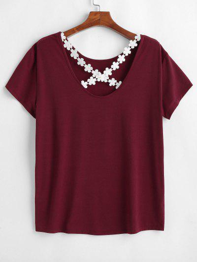 0bc64e25596594 Plus Size Cross Crochet Tunic Tee - Red Wine 2x ...