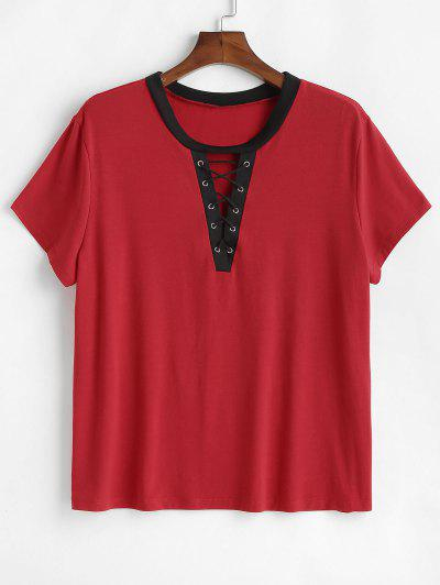 6e2b9692376 Lace-up Plus Size Contrast Trim Tee - Red 3x ...