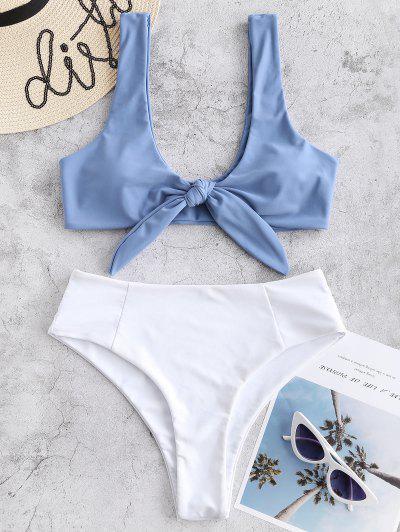 50af853095 Two Tone Tied High Waisted Bikini Set - Blue Gray S