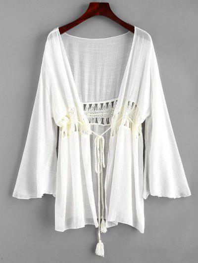 Tie Tassels Crochet Panel Cover-up - White