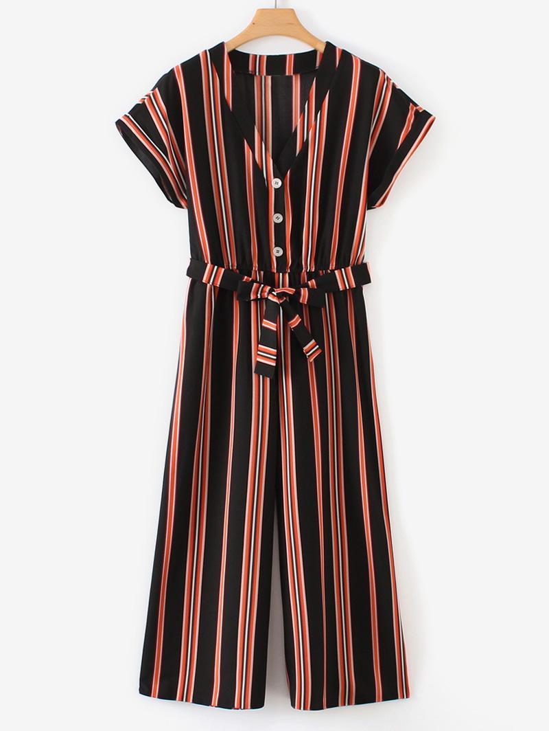 Half Buttoned Stripes Wide Leg Jumpsuit
