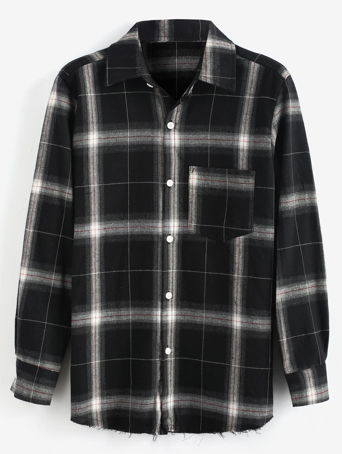 Plaid Raw Hem Long Sleeves Shirt