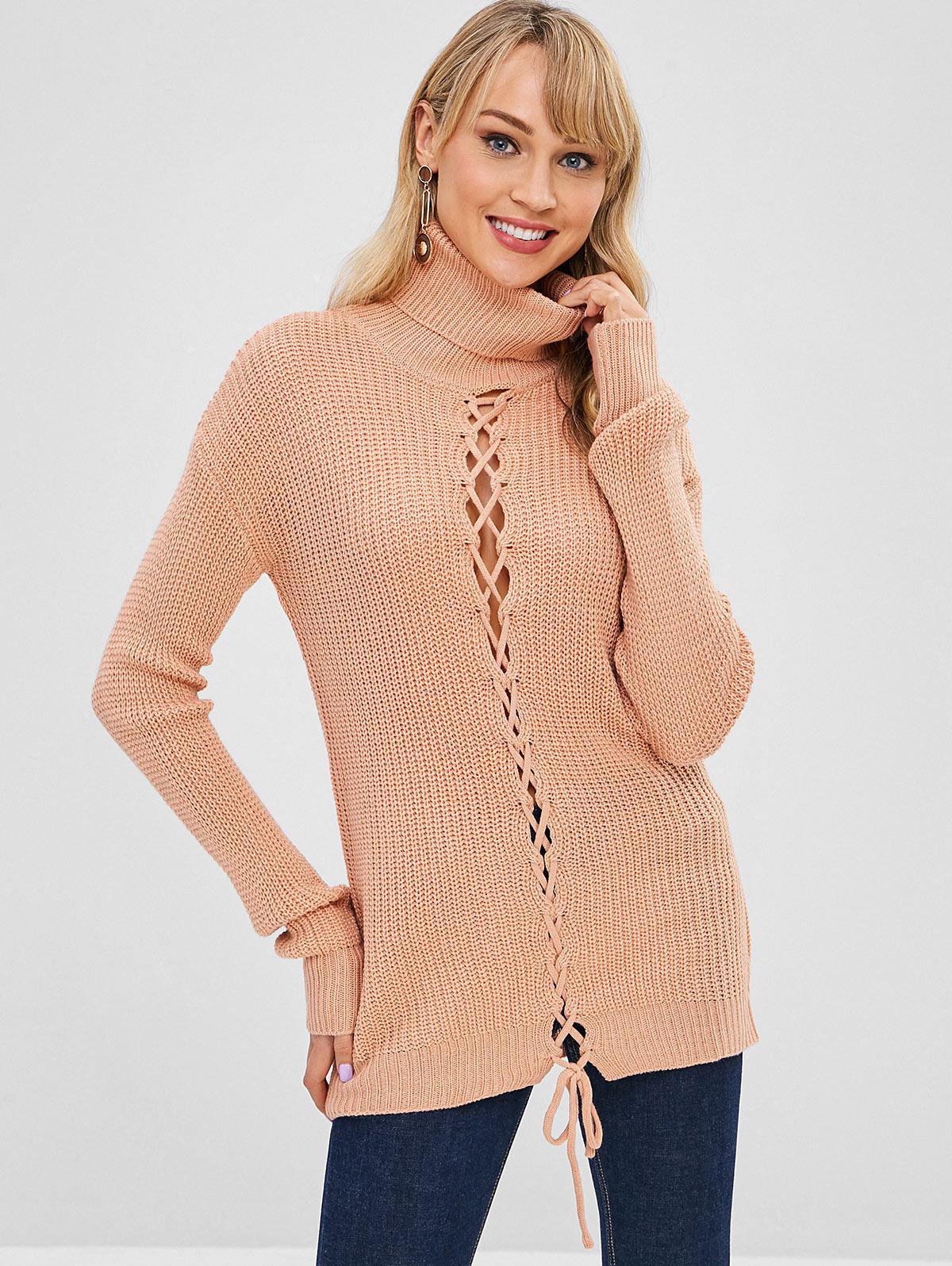 Turtleneck Lace Up Drop Shoulder Sweater