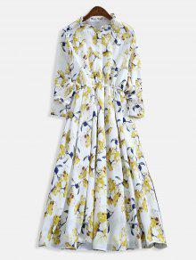 فستان بياقة كشكش مطوية بالزهور - متعدد Xl
