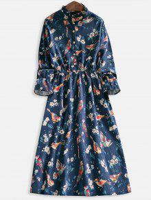 الأزهار طباعة نصف زر اللباس مضيئة - ازرق غامق S