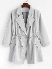 زائد الحجم واحد زر عادي معطفا - اللون الرمادي 3x