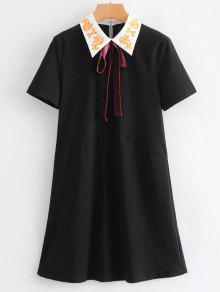 القوس التعادل المطرزة البسيطة اللباس - أسود M