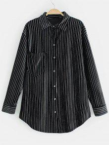 قميص بخطوط لامعة مخملية - أسود M