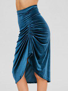 تنورة غير متماثلة Ruched المخملية - الطاووس الأزرق M