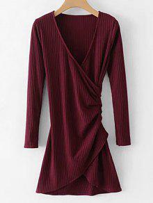 كم طويل مضلع اللباس رايات - نبيذ احمر L