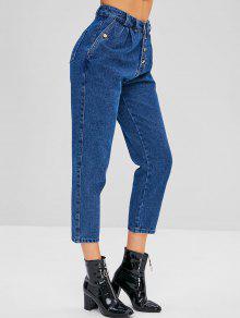 زر بنطال جينز بقصة مستقيمة - الحرير الأزرق L