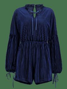 adca4b87c8bf 43% OFF  2019 ZAFUL Velvet V Neck Lantern Sleeve Romper In NAVY BLUE ...