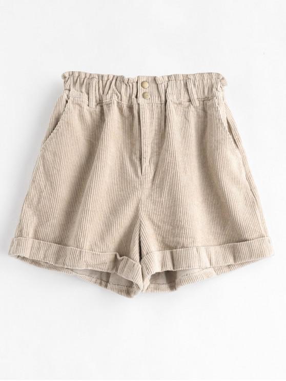 shop Cuffed Corduroy Shorts - LIGHT KHAKI M