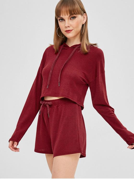 fashion Knit Crop Top and Shorts Two Piece Set - RED WINE S