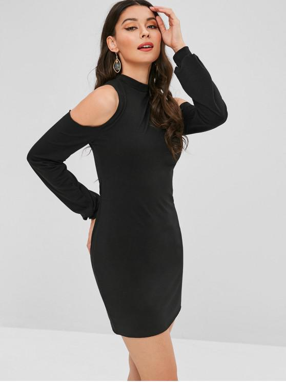 lady Casual Cold Shoulder Mini Dress - BLACK XL
