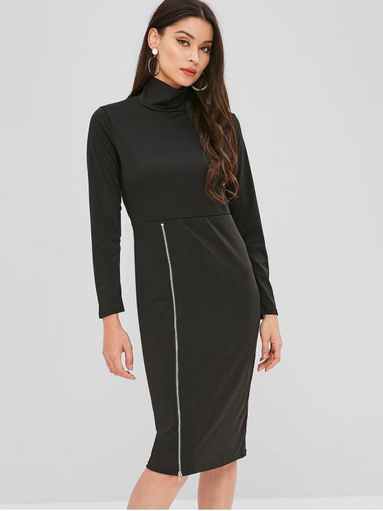همية العنق انغلق كم فستان طويل - أسود XL