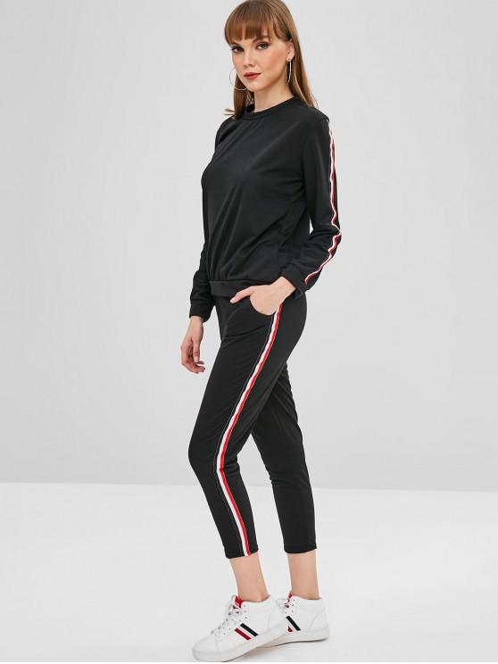buy Sweatshirt and Sweatpants Matching Two Piece Set - BLACK M