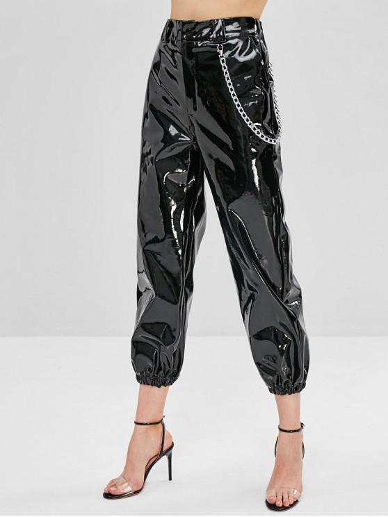 fancy Shiny Chain PU Leather Jogger Pants - BLACK M