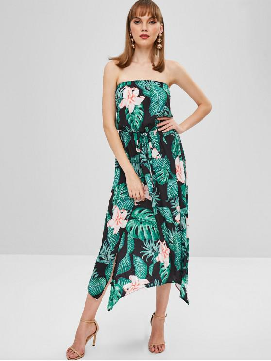 new Flower Palm Bandeau Slit Dress - BLACK S