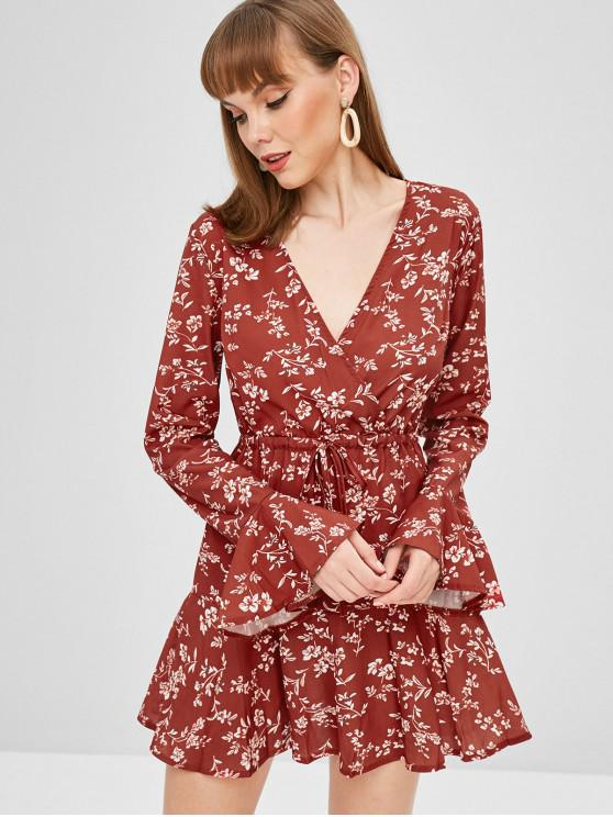 online Surplice Bell Sleeve Floral Dress - CHERRY RED L