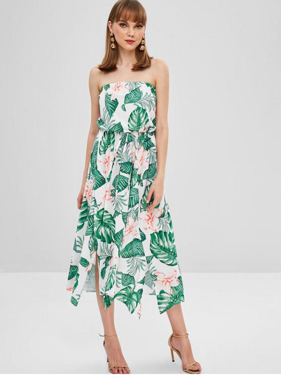 hot Flower Palm Bandeau Slit Dress - MILK WHITE M