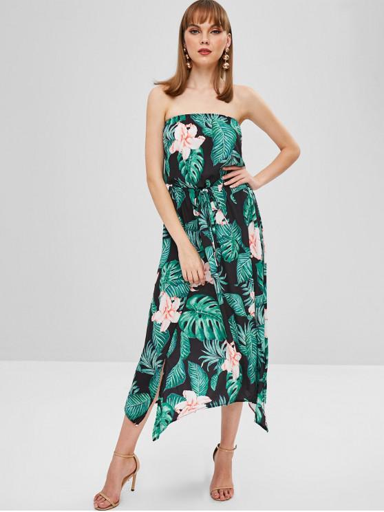hot Flower Palm Bandeau Slit Dress - BLACK L
