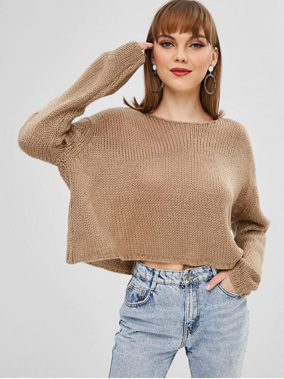 online Round Neck Plain Loose Sweater - TAN M