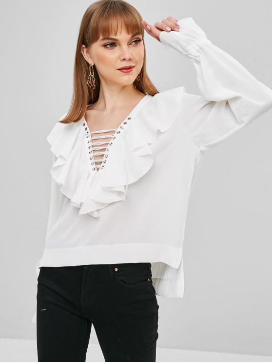 Ruffles Lace Up High Low Blusa - Blanco M