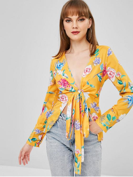 trendy Floral Wrap Blouse - GOLDEN BROWN L