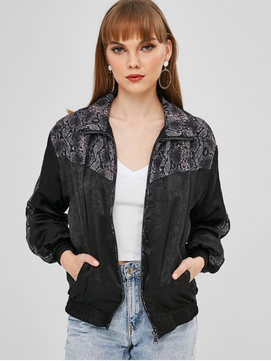 trendy Snake Print Zip Up Jacket - BLACK L