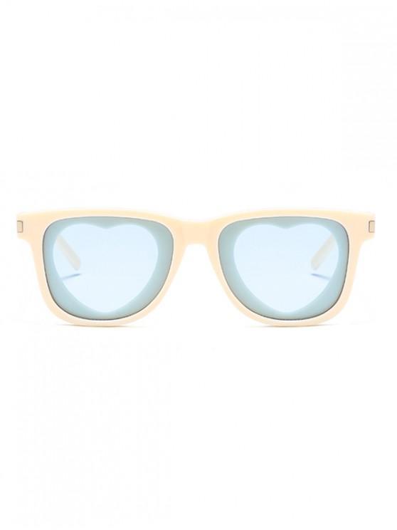 lady Heart Shape Lens Square Frame Sunglasses - AZURE