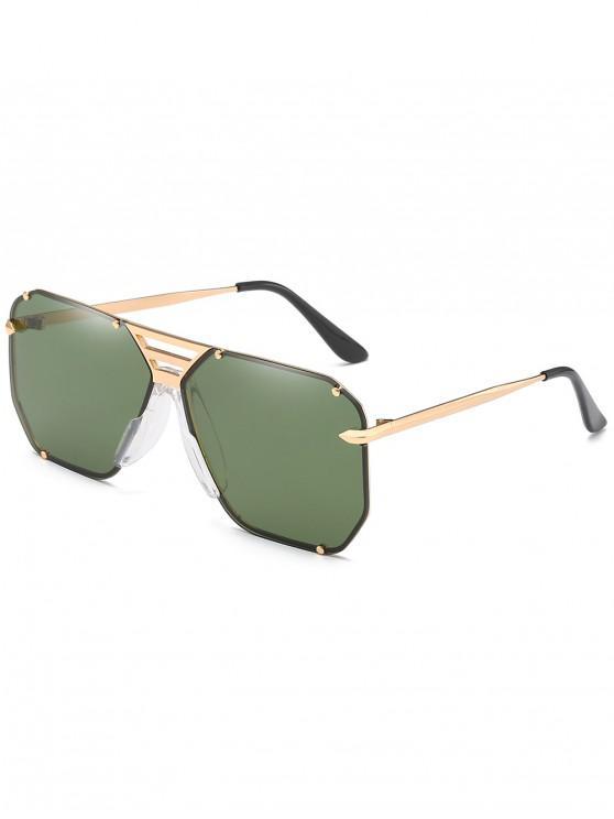 women's Metal Butterfly Shape Frame Narrow Brim Sunglasses - DARK GREEN