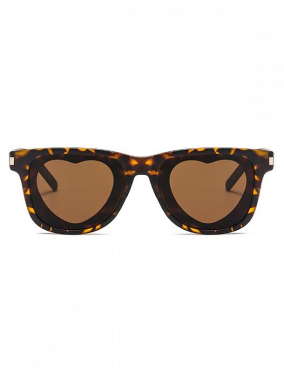 women Heart Shape Lens Square Frame Sunglasses - LEOPARD