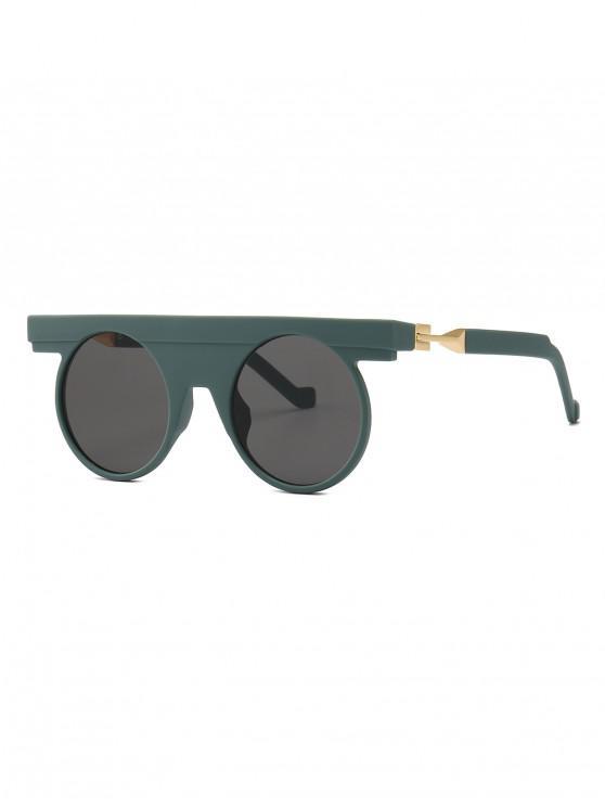 women's Simple Style Round Shape Sunglasses - DARK GREEN
